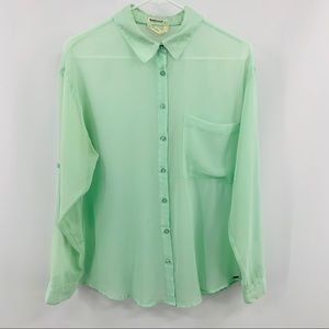 Garage Sheer Green Button Up with Roll Up Sleeve